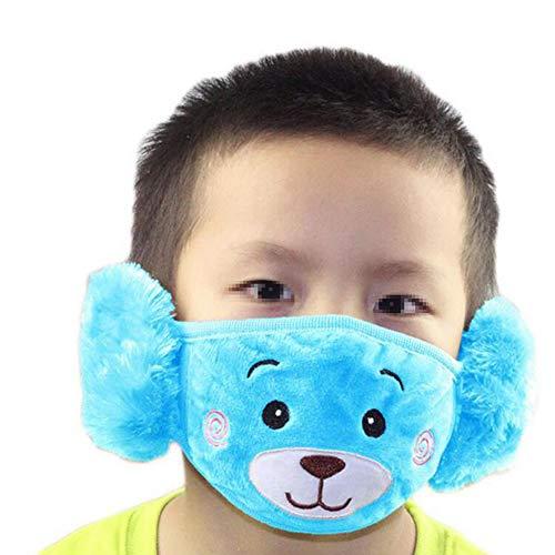 1PCS Blue Child Kids Earloop Face Mouth Mask Warm Plush Ear Protection Windproof Dustproof Cartoon Fleece Winter Warm Cartoon Bear Mask Cover with -