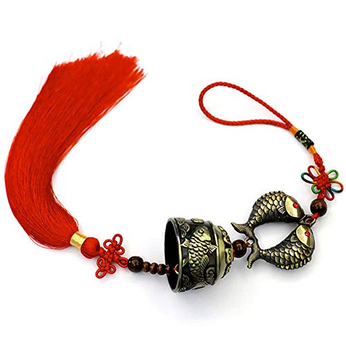 Chinese Feng Shui Bell for Wealth and Safe, Pendant Coins for Success - Also Can Used As Wind Chimes, Car Interiors (Koi)