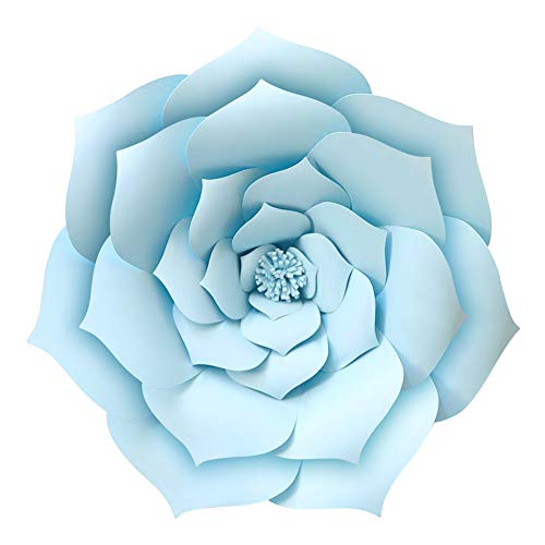 "Lucky Monet 3D Paper Flower Backdrop DIY Rose Flower Crafting Wall Decoration for Wedding Birthday Party Celebration (1Pcs/16""/Blue) -"