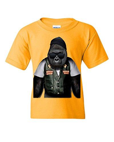 Biker Ape Youth T-Shirt Gorilla Motorcycle Route 66 Chopper Bobber Yellow M