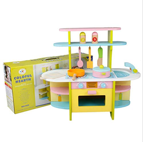 - LVEA Classic Kids Play Kitchen & Cookery Club Kid's Wooden Play Kitchen Set (Larger Kitchen)