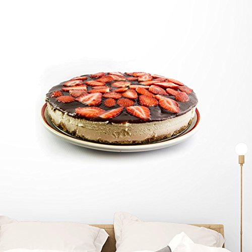 Wallmonkeys Strawberry Cheesecake Wall Decal Peel and Stick Graphic (36 in W x 24 in H) ()