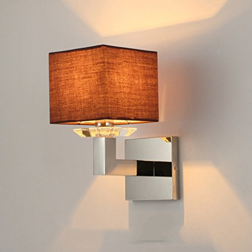 MLMHLMR Stainless Steel Modern Wall Lamp Single Headboard Lamp Simple Living Room Dining Room Wall Lamp Wall lamp (Color : Brown)