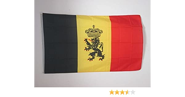 AZ FLAG Bandera de BÉLGICA con Leon 150x90cm - Bandera Belga con Armas 90 x 150 cm: Amazon.es: Jardín
