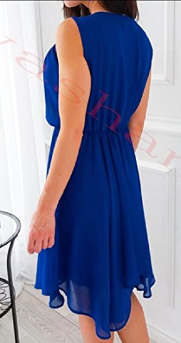 Solid ainr Blue O Neck Irregular Bohemian Dresses Women's Sleeveless FUqBwHF