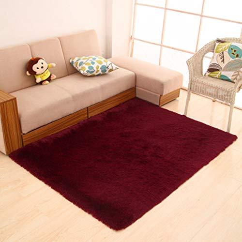Solid Rectangular Area Rugs Soft Shag Living Room Children Bedroom Rug Anti-Slip Plush Carpets Home Decor Modern Indoor Outdoor Runners Nursery Wine Red 1.6' X ()