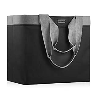 CHICECO Extra Large Women's Tote Bag for Gym Work Waterproof Nylon Beach Bag - Black Grey