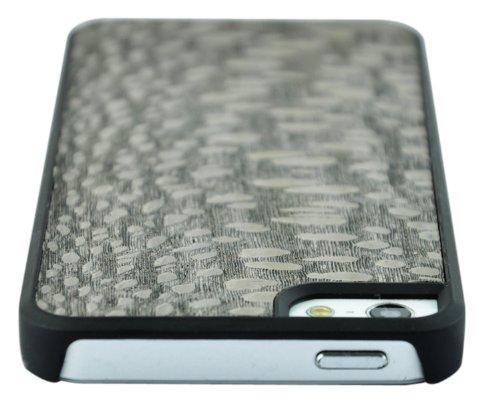 SunSmart Caso de madera natural real de madera de bambú de Apple iPhone 5 Genuine Copia de Caja Cubierta con bordes de plástico resistente (nogal negro) perla madera