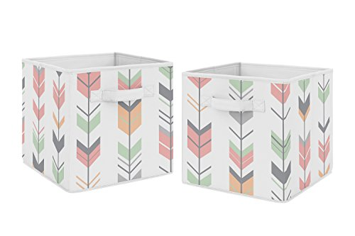 Coral and Mint Woodland Mod Arrow Foldable Fabric Storage Cube Bins Boxes Organizer Toys Kids Baby Childrens for Collection by Sweet Jojo Designs - Set of 2