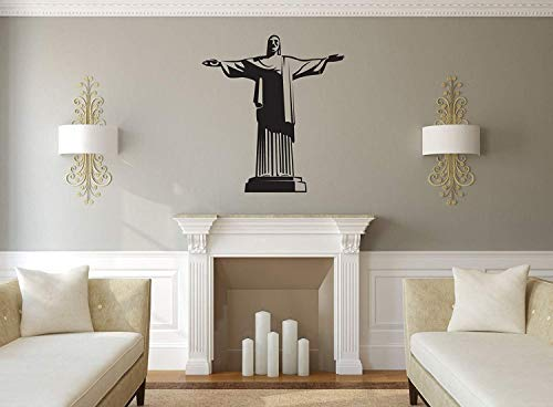 BYRON HOYLE Rio de Janeiro Wall Decor - Christ The Redeemer Statue Silhouette Vinyl Decal - Brazil Christian Culture Decoration for Living Room, (Name Of The Statue In Rio De Janeiro)