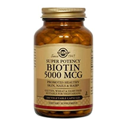 Solgar Biotin Vegetable Capsules, 5000 mcg, 50 Count