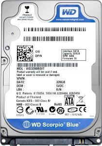 (WD WD3200BPVT WESTERN DIGITAL 320 GIGABYTE SATA 3GB S Mobile Storage 5400RPM 8)