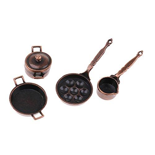 MagiDeal Vintage 5 Pieces Miniature Kitchen Cookware Set Alloy Pots Pans for 1/12 Dolls House Decoration Accessories