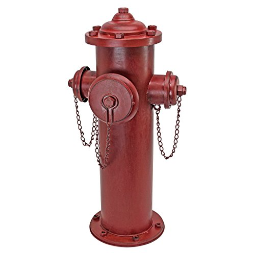 Design Toscano Fire Hydrant Statue Puppy Pee Post and Pet Storage Container, Large 23 Inch, Metalware, Full ()
