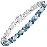 Finecraft Tennis Bracelet with Blue Diamond (Brass)
