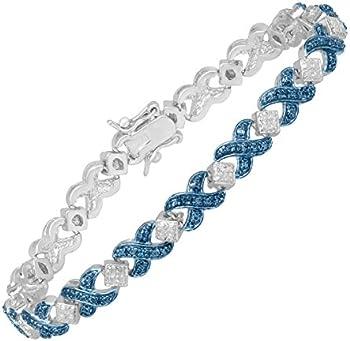 Finecraft Tennis Bracelet w/Blue Diamond