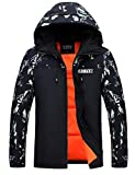Zoulee Men's Camouflage Splice Hooded Zipper Down Jacket Blue 2XL