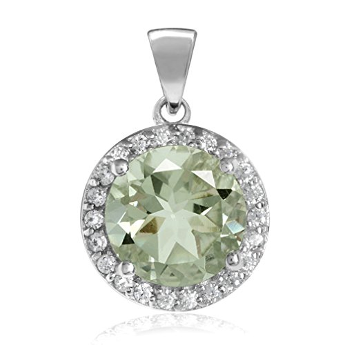 (2.14ct 9MM Natural Round Shape Green Amethyst White Gold Plated 925 Sterling Silver Halo Pendant)