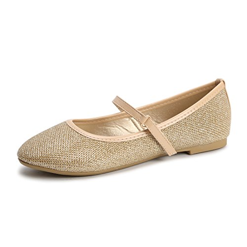 Hawkwell Mary Jane Bow Ballerina Flat (Toddler/Little Kid/Big Kid),Gold Glitter,1 M US -