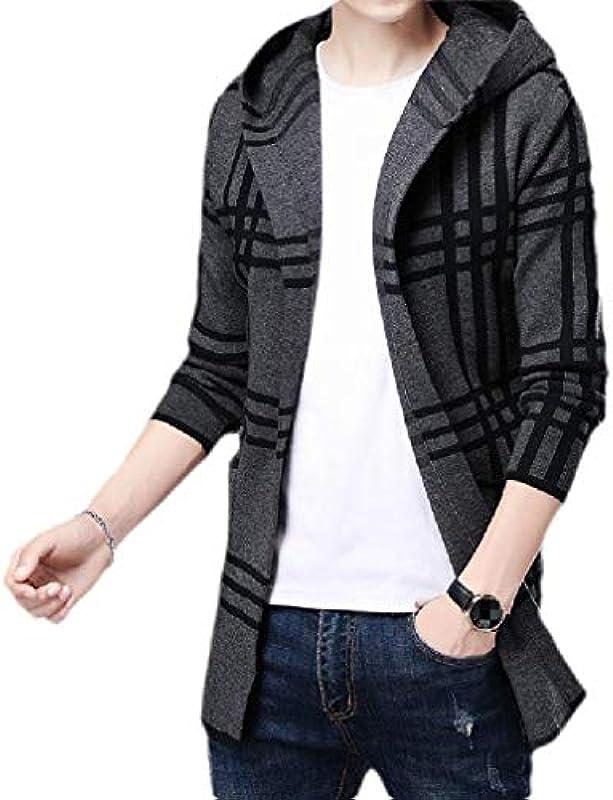 H&E Mens Thick Plaid Hoodies Open Front Overcoat Cardigan Coat: Odzież