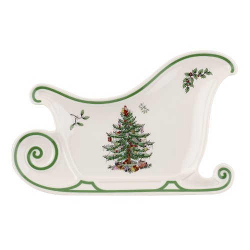 Spode Christmas Tree Embossed Sleigh Platter