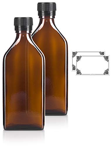 (250 ml / 8 oz Amber Glass Pharmacy Liquid Medicine Flask Bottle with Black Ribbed Tamper Evident Seal and Pouring Insert (2 Pack) + Labels)