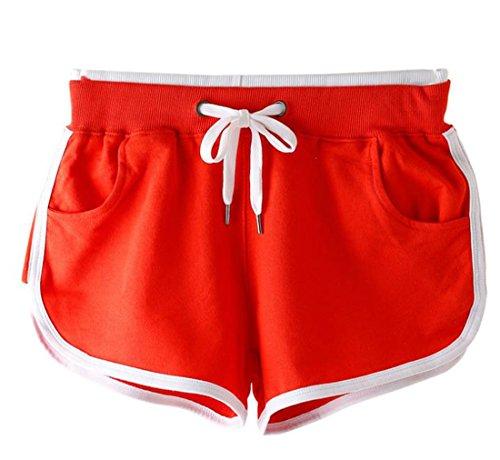 Corti Sportivo Donna Pantaloncini arancione Estivo YueLian Abbigliamento per Rosso qUwTnv