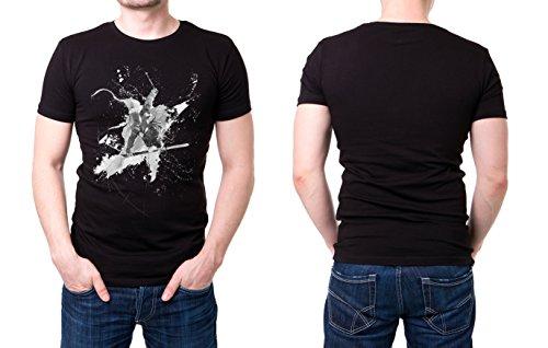 Skikunstspringen schwarzes modernes Herren T-Shirt mit stylischen Aufdruck