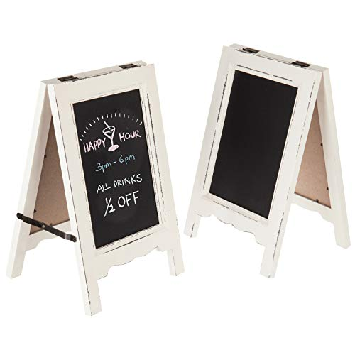 MyGift Set of 2 Vintage White Wood 15-Inch A-Frame Dual-Sided Chalkboard Signs