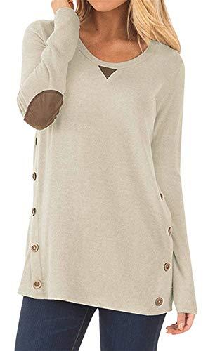 HARHAY Women's Long Sleeve Faux Suede Casual Blouse Tunic Shirt Tops Khaki M (Kaktus Clothing)