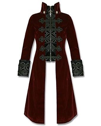 Punk Herren Jacke Rave Mantel Rot Gothic Steampunk Baratheon, Samt, Schwarz   Amazon.de  Bekleidung 6478eee2dc