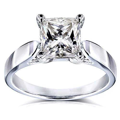 - Princess Moissanite Solitaire Peg Head Cathedral Engagement Ring 1 1/2 Carat 14k White Gold, 8