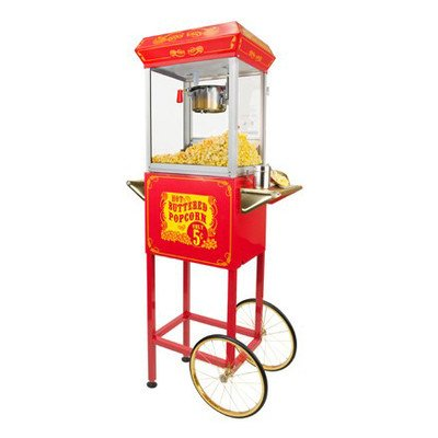 FunTime Sideshow Popper 4-Ounce Hot Oil Popcorn Machine with Cart, Red/Gold by Funtime