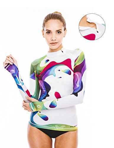 Platinum Sun Divers Women's Rainbow Lycra (rash guard) long sleeves. Tight fit 50+ UV protection. With thumb holes and zipper on the neck. - M - Lycra Long Sleeve Rash Guard