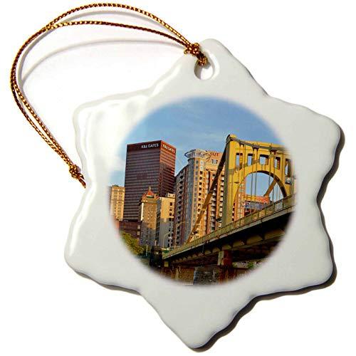 3dRose Danita Delimont - Architecture - USA, Pennsylvania, Pittsburgh. Andy Warhol Bridge - 3 inch Snowflake Porcelain Ornament (ORN_231569_1) ()