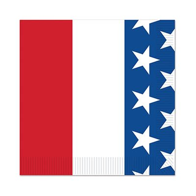 Beistle 58307 Patriotic Beverage Napkins, Red/White/Blue
