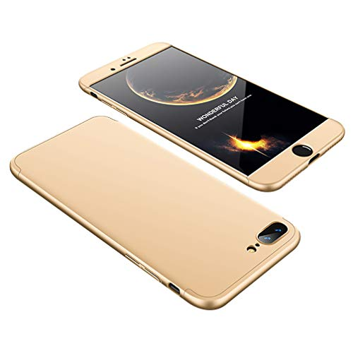 for iPhone 7 Plus 8 Plus Case, 3 in 1 PC Hard 360 Degree Full-Body Protective Anti-Scratch Hybrid Shockproof Back Cover,Gold