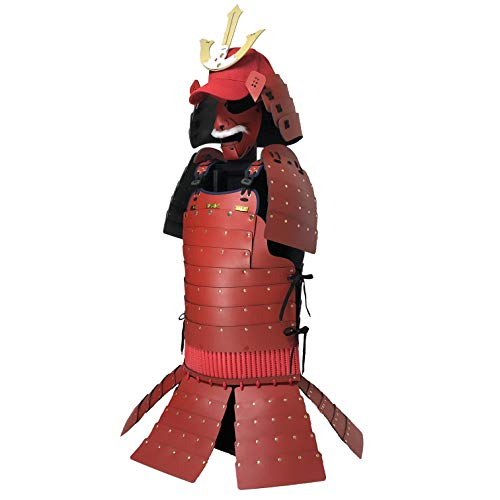 (Japanese Samurai Armor Cosplay Costume, Design Based On Warlord Mori Motonari, Handmade in Japan, Yoroi-AR-801 Red, Gold)