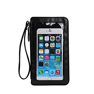 PU Leather Spacious Crossbody Bag Cell Phone Purse Shoulder Handbag Multi-Functional Wallet Case Adjustable Strap Wristlet Bag For Travel, Dating,Fan Shopping, Work (black)