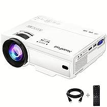 XuanPad Mini Proiettore 2400 Lumens, 55000 ore Portatile Videoproiettore Home Theater Proiettori, compatibile con Amazon Fire TV Stick1080P HDMI VGA USB