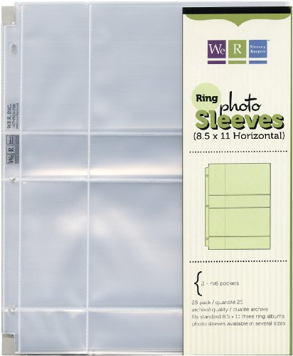 amazon com 8 5x11 3 ring photo sleeve refills 4x6 pocket 25 pack