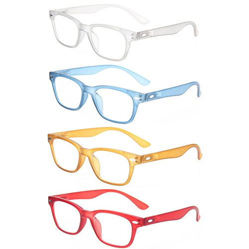 Reading Glasses 4 Pack Fashion Men And Women Readers Spring Hinge Glasses for Reading (1Gray 1Blue 1Brown 1Red, - Glasses Reading Clear