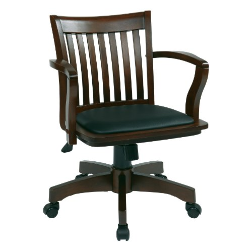 Office Star Deluxe Wood Bankers Desk Chair with Black Vinyl Padded Seat, Espresso Espresso Vinyl Seat