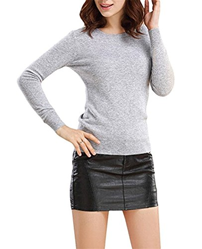 B dressy Women's Blended Pullover Knit Sweater S-3XL Light GRAYXL=US 10 ()