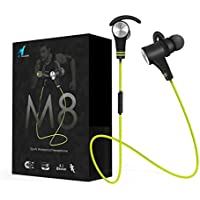 Bluetooth Headphones Wireless 4.1 In-Ear Sport Earbuds HD Stereo Bass Headsets with Mic Nasudake M8 Magnetic Switch Noise Cancelling Sweatproof Sports lightweight Earphones for iPhone iOS & Android