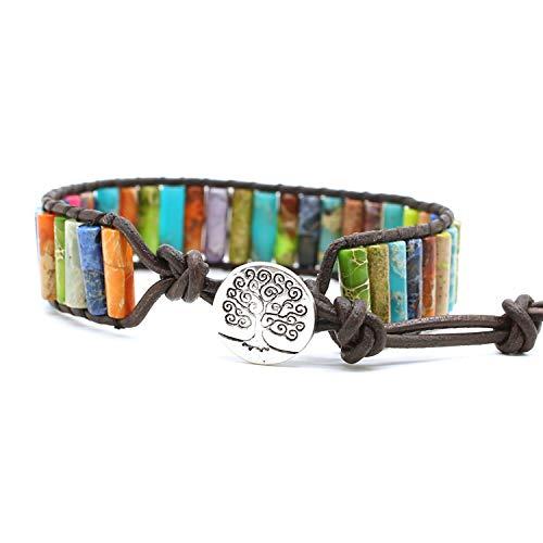 Bonnie Beaded Wrap Bracelet for Women Gemstone Beads Leather Bracelet Tree of Life Imperial Jasper Stone Beads Wrap Bracelet (Multi-Color 2)