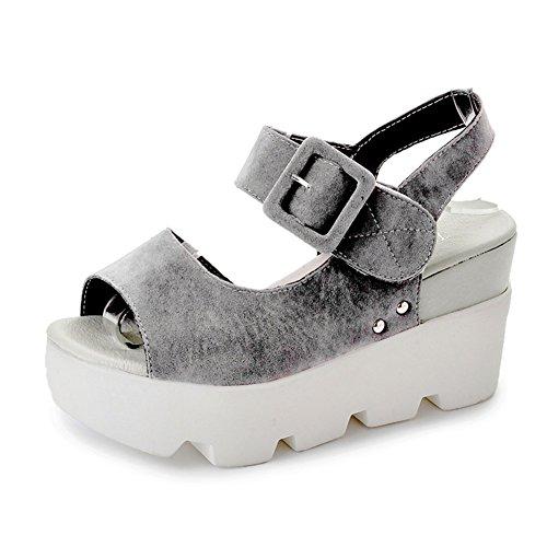 Espesor Final Del Verano De Peces Tacones Boca,Magia Gruesa Suela Zapatos De Plataforma gris