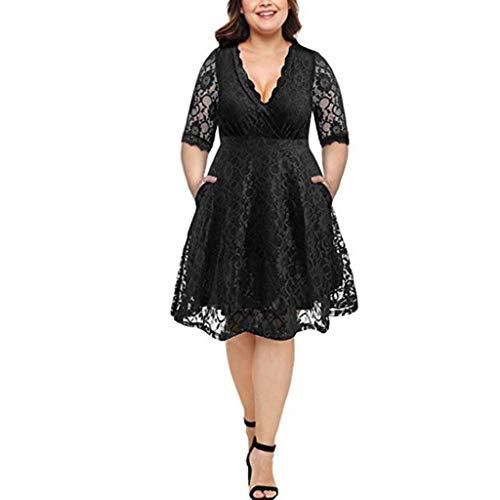 Tantisy ♣↭♣ Women's Plus Size V Neck Lace Half Sleeve Wedding Party Dress Retro Classic Elegant Cocktail Dress Black