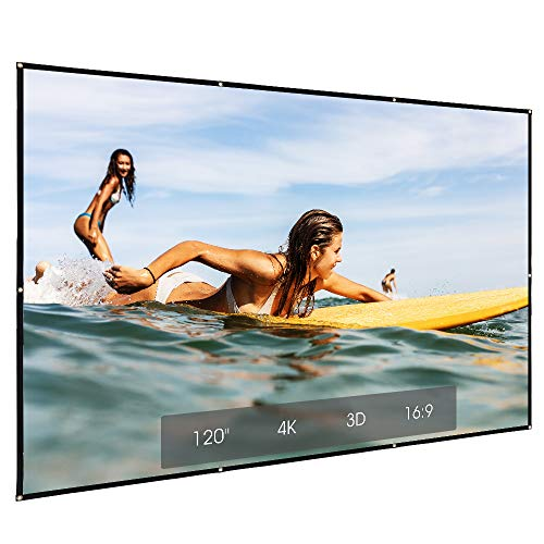 "Projector Screen 120"" 16:9 Ratio, HD 4K Portale and Foldable Fabric Indoor Outdoor Projection Screen with Carry Bag for Home Theater,Business Meetingse.etc"