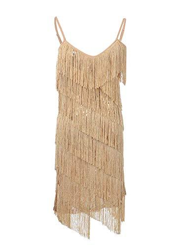 Adorall Women's Dance Dress Sequin Fringe Strap Backless 1920s Flapper Party Mini Dress - Mini Goldx